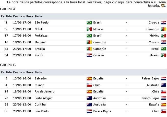 +Brasil 2014: Calendario de Copa Mundial de Futbol Brasil 2014