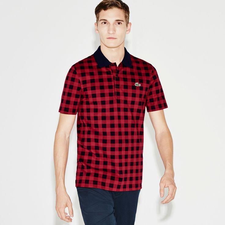 Men's SPORT Super Light Gingham Print Polo Golf Shirt | LACOSTE