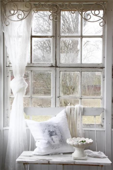 Creamy white, distressed wood, sheer, natural light, graceful filigree. This could be my happy place.