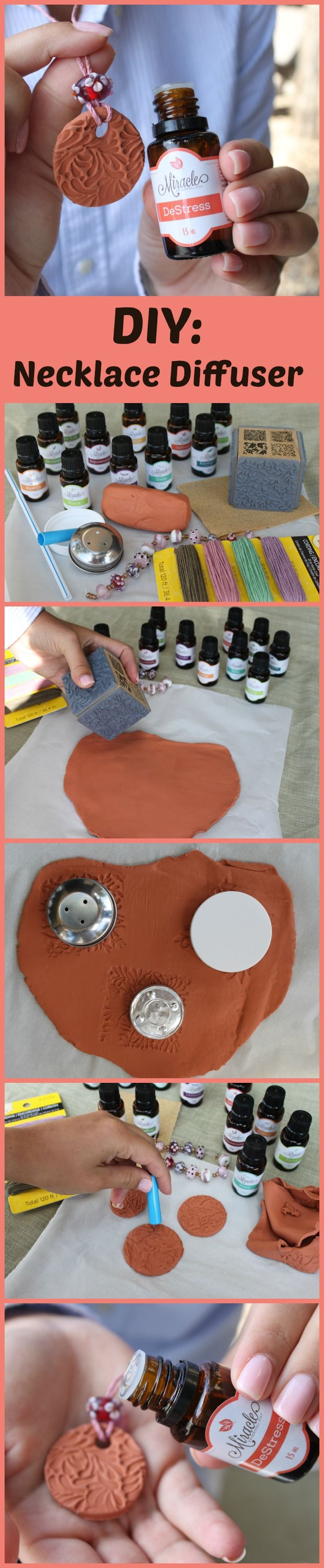 How to make your very own DIY Clay Necklace Diffuser for essential oils! Love this idea. It's super easy to make and the scent last so long around your neck. Could be cool as a bracelet too :) This Brand is my fav: https://miracleessentialoils.com/guide408/?&c1=PIN&c2=C14-A4