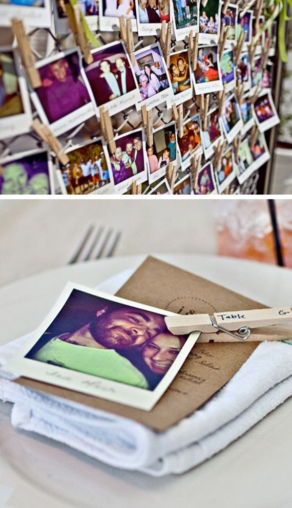 Print pictures in Polaroid format, then write down the name of the guests and any funny comment. Finally, distribute the pictures hanging them with clothespins, which is where you will specify the number of each table.