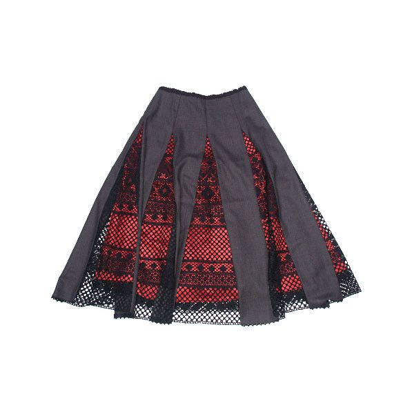 Razu Mikhina Черная юбка с красной нижней юбкой ❤ liked on Polyvore featuring skirts and women