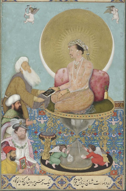 Jahangir Preferring a Sufi Shaikh to Kings by Bichitr (act. 1615–50) India, Mughal period. Opaque watercolor, gold, and ink on paper. Smithsonian Institution, Washington D.C.