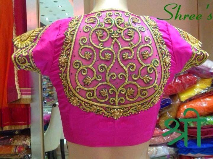 High Neck Thread Work Blouse | Saree Blouse Patterns
