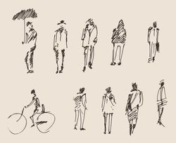 people sketch, vector Illustration, hand drawing