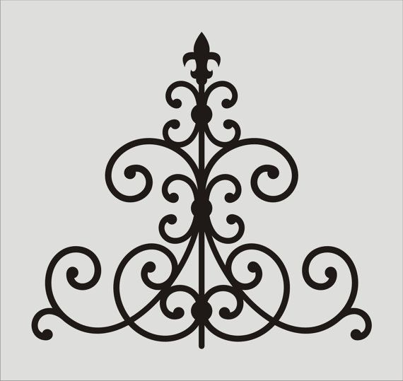 Wrought Iron Fleur De Lis would look great over the outdoor fireplace.