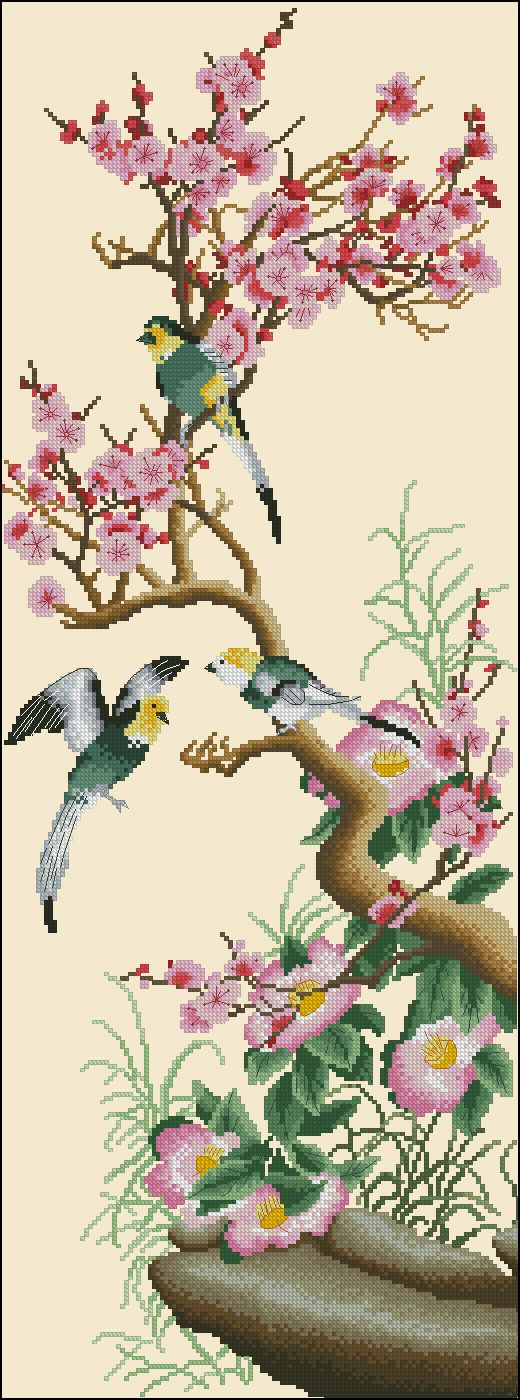 "Cross-stitch design ""Branch of sakura and birds"". Oriental cross stitch designs for free download in pdf format"