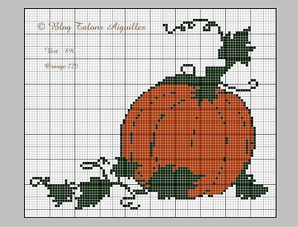 free cross stitch pumpkin chart from The blog of vava; check cross stitch board for more charts