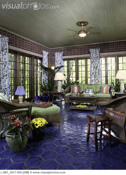 Sunrooms Cobalt Blue Hexagon Tile Floor Interesting Choices That Somehow Work Together Pinterest Sunroom Flooring And Tiles