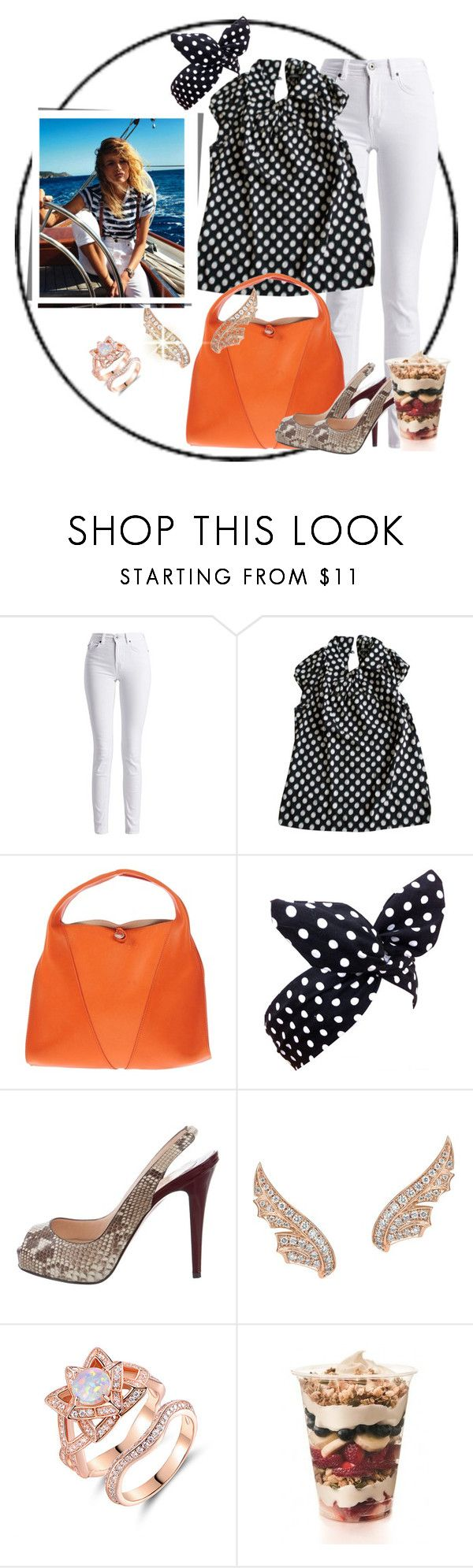 """My big orange bag"" by sweetsmellofsuccess ❤ liked on Polyvore featuring Barbour International, Tara Jarmon, Orciani, Lulu in the Sky, Christian Louboutin, Stephen Webster and Peermont"