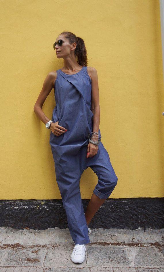 NUEVA colección SS 2016 Sexy Denim gota entrepierna mono / extravagante traje suelto de verano / día informal con bolsillos por AAKASHA A19430
