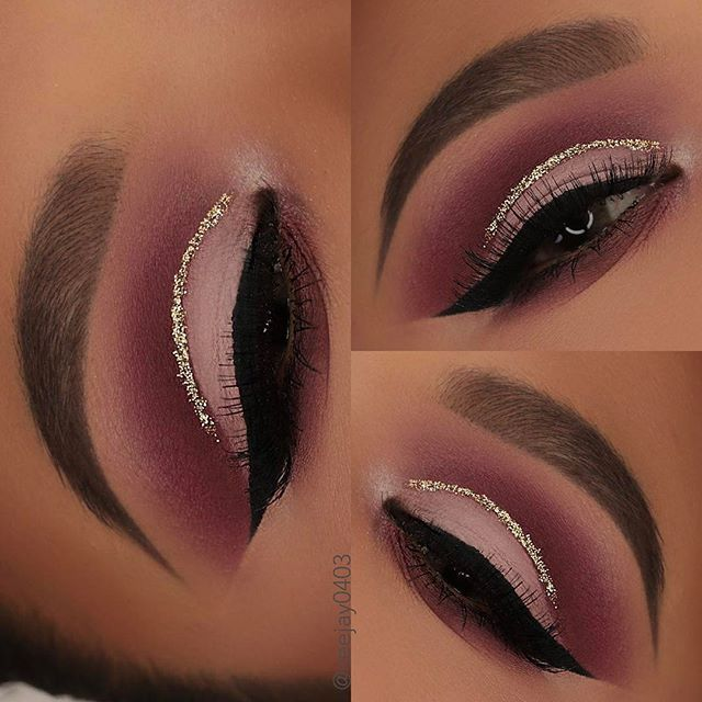"""Here's a closer look of my eyes from my last post... Products Used: @shopvioletvoss hg palette.. that wine & dine is gorgeous!!! I all used their secret weapon  adhesive with some gold glitter from @sallysbeautysupplyco  @tartecosmetics pro tarteist palette ka-Brow shade 4 @eyelure_lashes @vegas_nay """"shining star"""" lashes @boulonguise hidrocor lense in brown"""