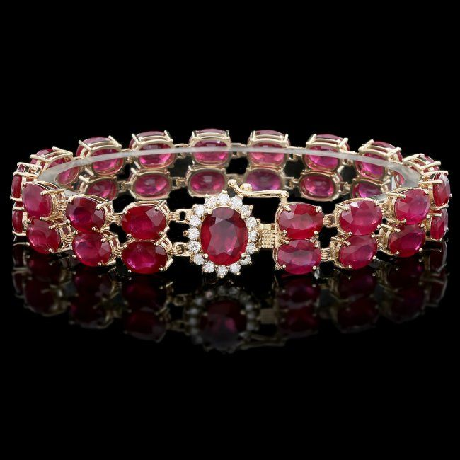 Oval Shaped Ruby And Diamond Bracelet Mounted In 14k Solid Yellow Gold