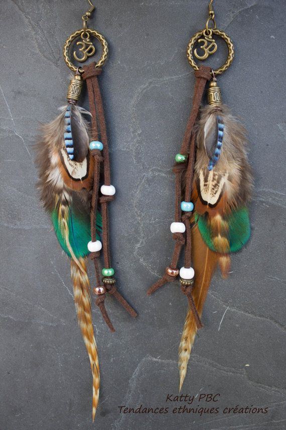 Boucles d'oreille plumes  Tya  par Tendancesethniques sur Etsy