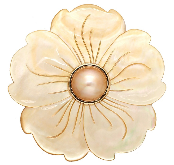14K Yellow Gold Mother of Pearl Flower with Mabe Pin, Pearl Lustreand Brooches from The Shopping Channel, Canada's home shopping network-Online Shopping for Canadians