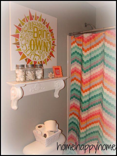 gray and coral kid/teen bathroom