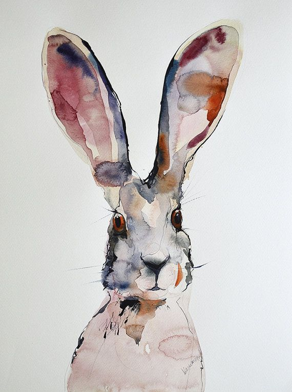 March Hare picture. Original abstract watercolor painting. Jackrabbit, wildlife, animal art. Unique gift, drawing, watercolour wall decor.