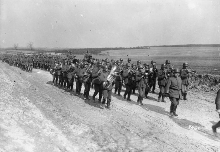 A German infantry regiment, headed by its band, marching from the infantry training school at Sedan having prepared for the spring offensive, March 1918.