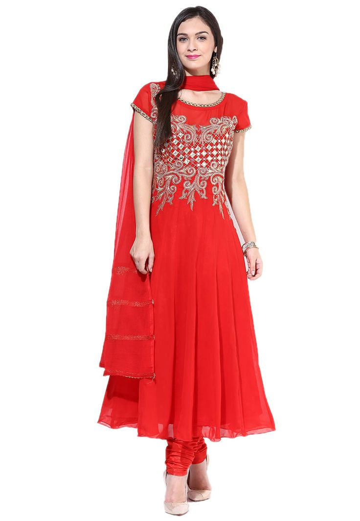 Buy Red Faux Georgette Readymade Churidar Kameez online, work: Embroidered, color: Red, usage: Party, category: Salwar Kameez, fabric: Georgette, price: $94.23, item code: KUZ178, gender: women, brand: Utsav