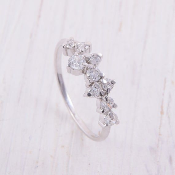 Gift for her CZ Diamond Cluster Ring Wedding Engagement Ring Gold Ring Floral Rings Sterling Silver Rings Promise Ring Dainty Ring