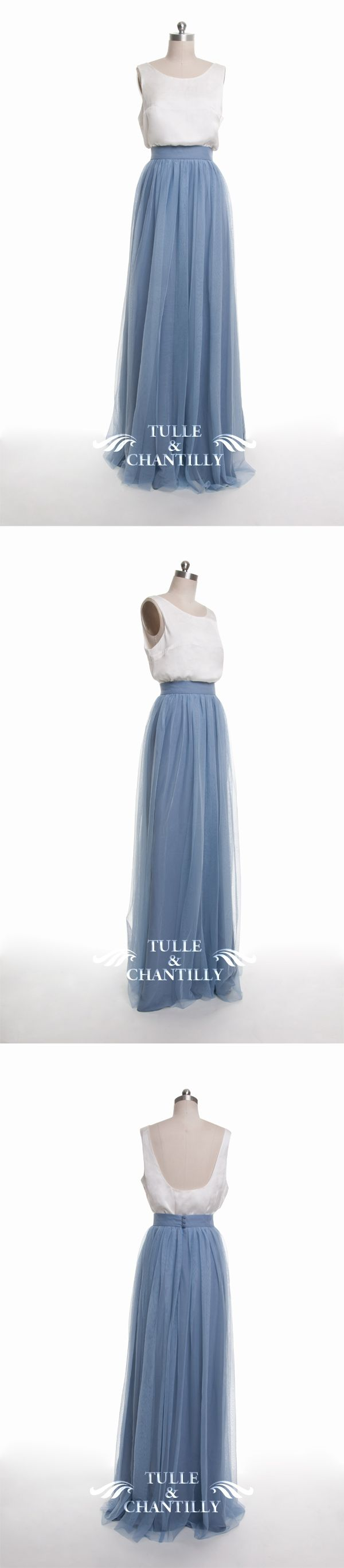 dusty blue tulle bridesmaid dress 2016