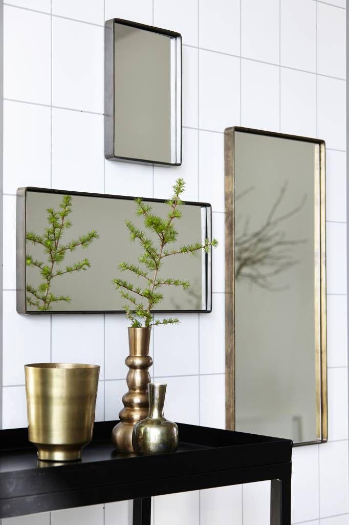 Housedoctor Spiegel Reflektion antiek brass goud kleurig ijzer 55x25x4cm - wonenmetlef.nl