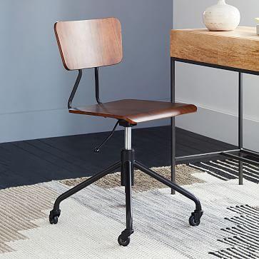 "17.7""w x 17""d x 26""h. $199 Industrial Office Chair #westelm"