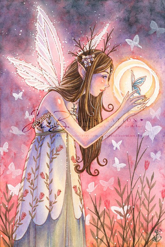 Garden Fairy Art Print - Roses With Butterflies in Twilight - Healing Art