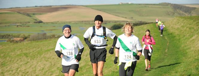 Beachy Head Marathon The Eastbourne Beachy Head Marathon is one the biggest off-road marathons in the UK. Formerly known as the Seven Sisters Marathon, it is popular for its scenic and challenging route through the South Downs National Park countryside.