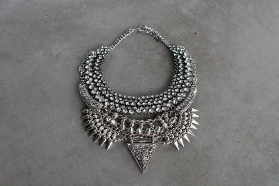Handcrafted Statement Necklace - Silver crystal layered & stacked rhinestone ethnic bohemian dylanlex inspired on Etsy. $98.00