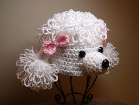 White Crocheted Poodle Hat with Pink Bows Newborn by ArmchairDiner, $20.00