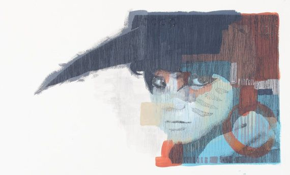 Suzy // Abstract  Screenprint over Expressive by EyeJoyArt on Etsy