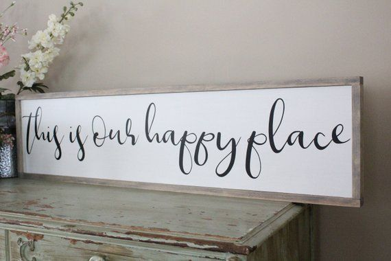 This Is Our Happy Place Framed Wood Sign Living Room Wall Art Farmhouse Decor Wood Sign Saying I Wood Signs Wood Signs Sayings Tuscan Decorating