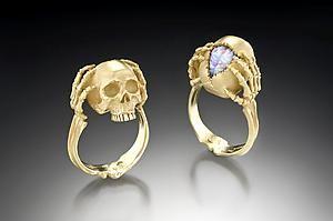 K Gold Skull Ring With Australian Fire Opal