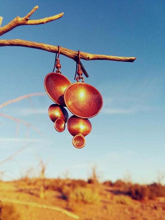 Invoke the strength of planetary alignment with these beautifully formed copper drop earrings. Hooks are nickle free but can be changed to sterling silver at no additional cost, please select option in drop down list before purchasing.