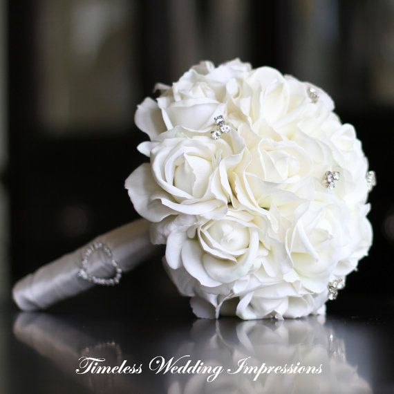 Wedding Bouquet White Real Touch Roses Bridal By TimelessWedding 15000