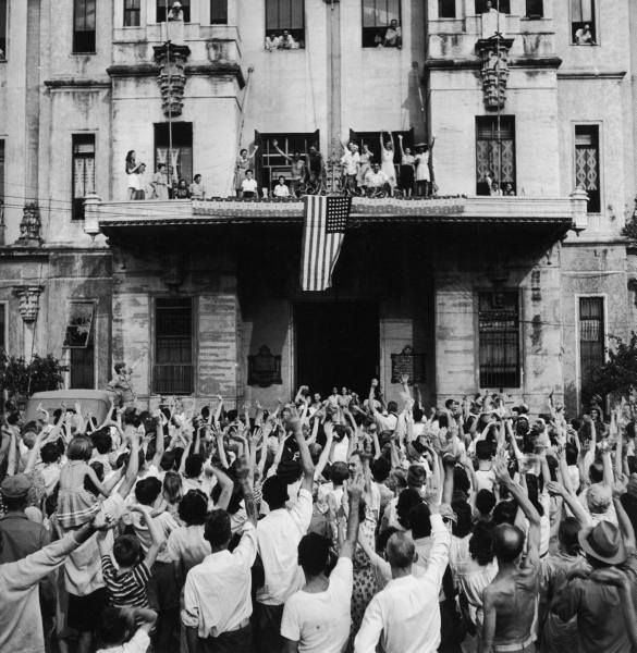 Santo Tomas Internment Camp Liberation #tbt #ust  A historic photo of the History of University of Santo Tomas in the Philippines during its Liberation from the Japanese Regime in February 1945. The photo shows hundreds of Santo Tomas camp internees in front of the UST Main Building cheering their release from the prison camp.  Photo taken by Carl Mydans - LIFE Images