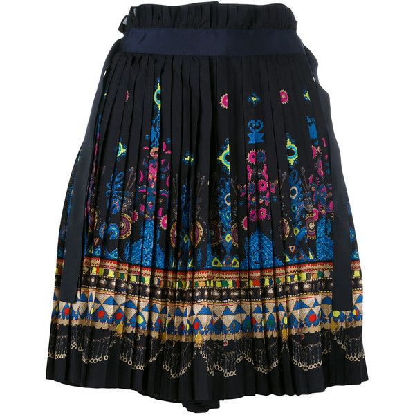Sacai tribal lace wrap front shorts (962 CAD) ❤ liked on Polyvore featuring shorts, blue, lace shorts, tribal print shorts, sacai, pleated shorts and lacy shorts