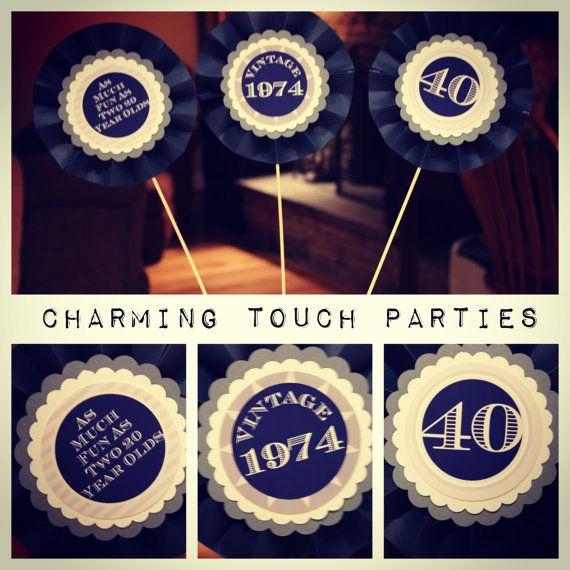 Custom Modern and Masculine 40th birthday centerpiece/decorative sticks (you choose colors)