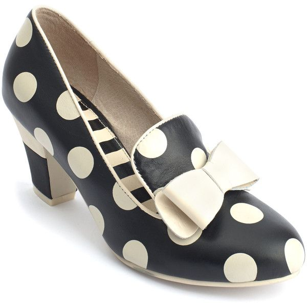 Lola Ramona Black & Cream Polka Dot Elsie Pump ($70) ❤ liked on Polyvore featuring shoes, pumps, plus size, black polka dot pumps, kohl shoes, vintage style shoes, mid-heel pumps and black court shoes