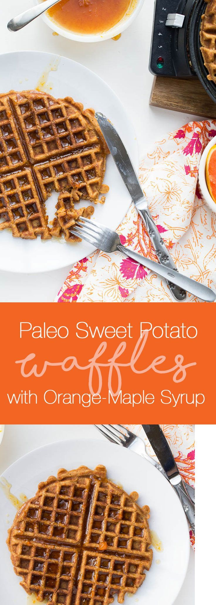Paleo Sweet Potato Waffles with Orange-Maple Syrup | paleo recipes | waffle recipes | sweet potato recipes | gluten-free recipes | grain-free recipes | http://perrysplate.com
