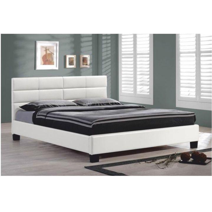 Šírka 160 cm : Manželská posteľ s roštom, 160x200, biela textilná koža, MIKEL