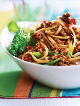 Vegetarian Singapore noodles with Quorn crumbles