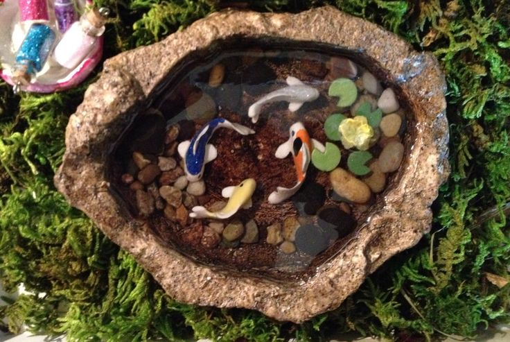 136 best images about polymer clay ponds and mirrors on for Mini garden pool