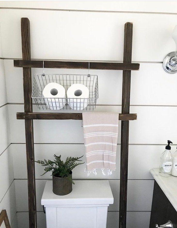 Throw Rustic Ladder Over The Toilet Storage Farmhouse Towel Etsy Bathroom Storage Over Toilet Rustic Ladder Farmhouse Bathroom Organizers