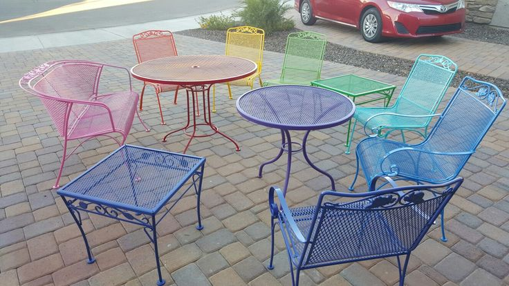 Adding some color to the backyard with our wrought iron patio furniture!!!