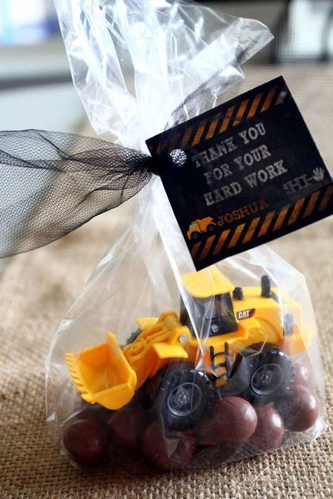 Toy truck favors at a construction birthday party! See more party ideas at http://CatchMyParty.com!