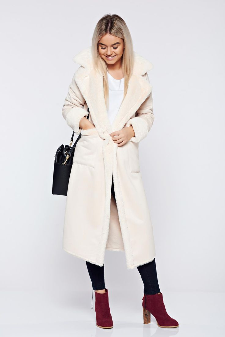 Cream elegant straight coat with pockets, accessorized with tied waistband, faux fur lining, velour, with pockets