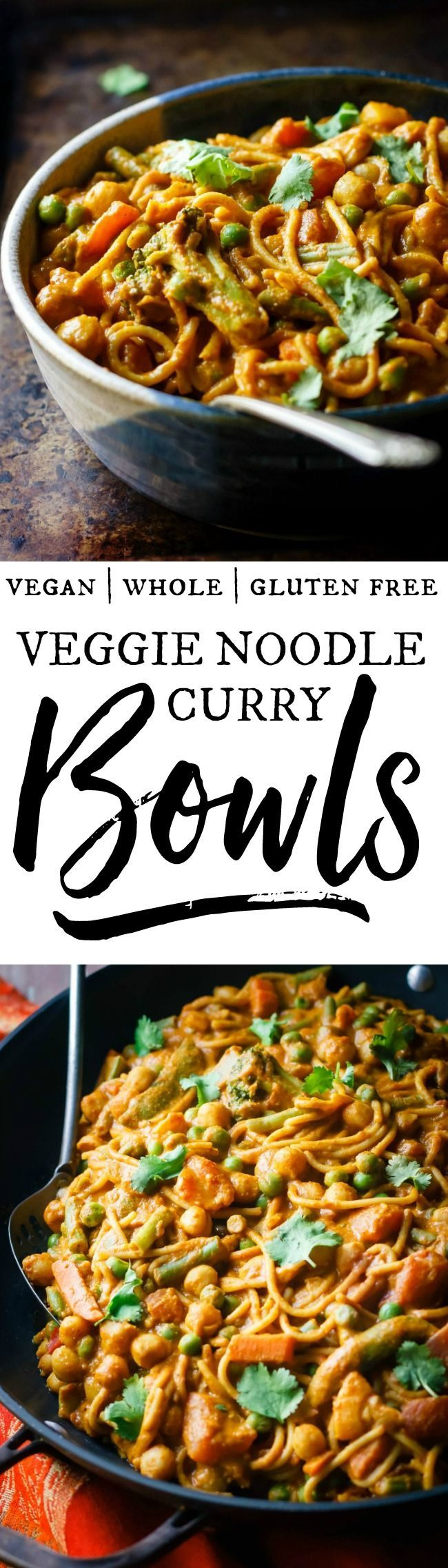 Veggie noodle curry bowls = your favorite noodles, loaded with creamy, spicy sauce and lots of veggies! Perfect when you're craving Indian restaurant flavor in a comforting, bowl-style meal. Vegan, healthy, delicious! via /happy_foodista/