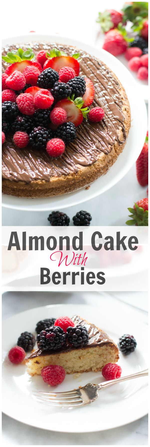 Almond Cake with Berries-sub stevia for sugar